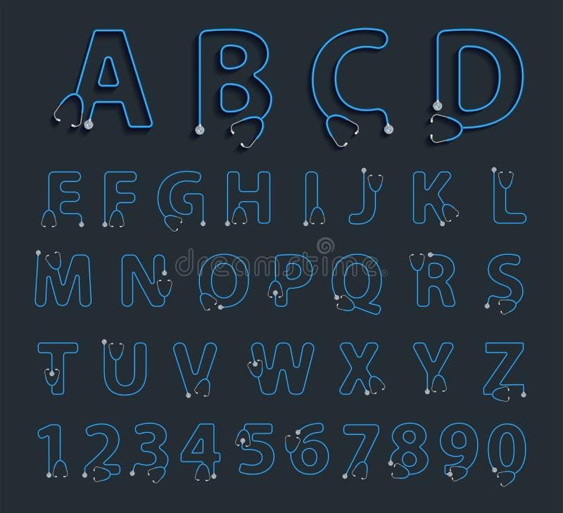 Письма алфавита вектора в форме стетоскопа иллюстрация штока