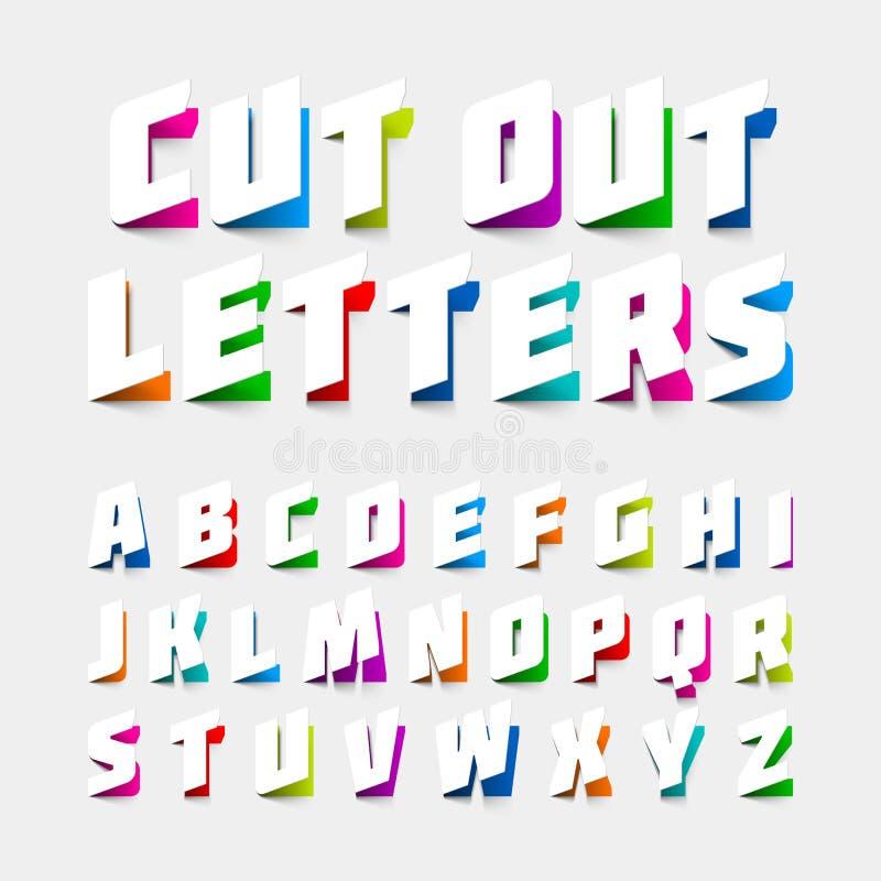 Письма алфавита отрезанные вне от бумаги иллюстрация штока