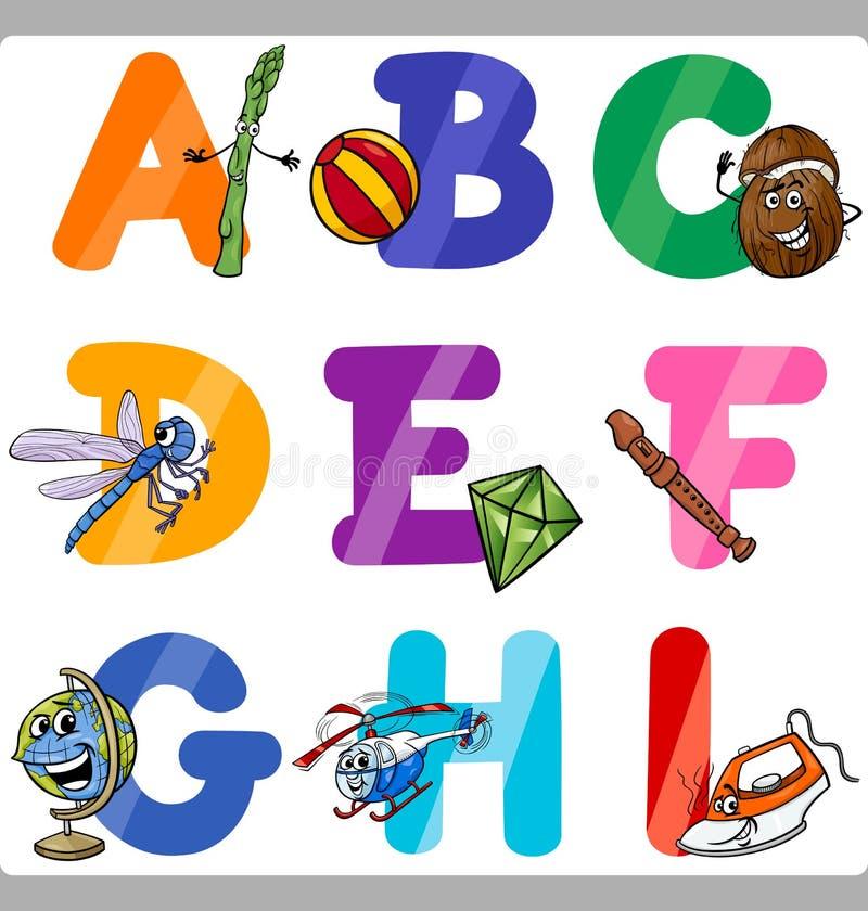 Письма алфавита шаржа образования для детей иллюстрация штока