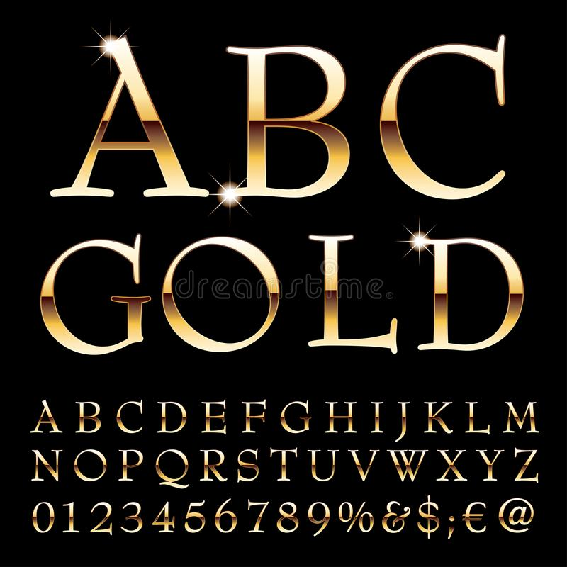 Письма золота Abc иллюстрация вектора