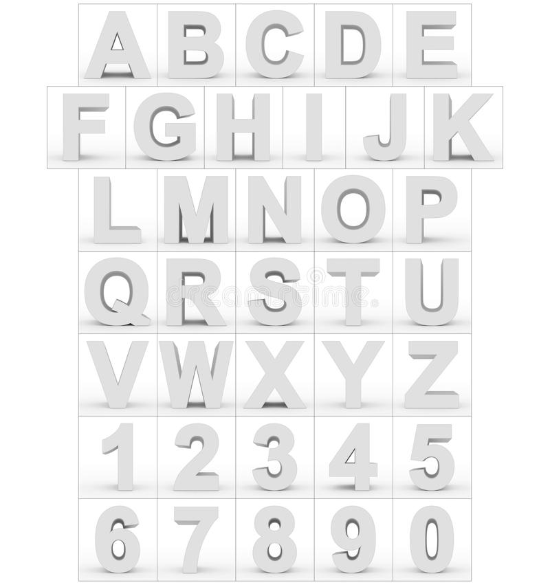 Письма и белизна номеров 3d изолированная на белизне иллюстрация вектора