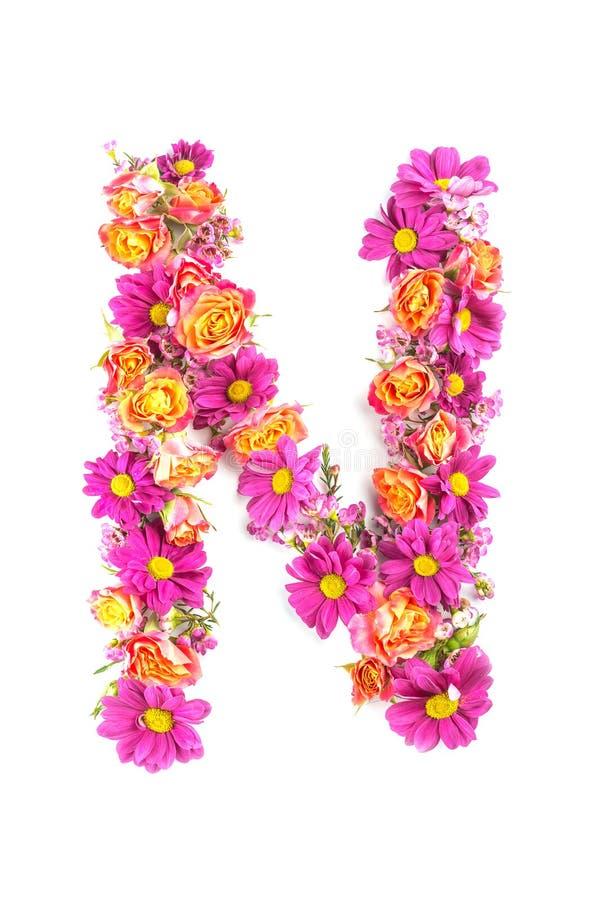 Письма и номера сделанные от изолированных цветков в реальном маштабе времени на белой предпосылке, делают текст с алфавитом цвет стоковые фото