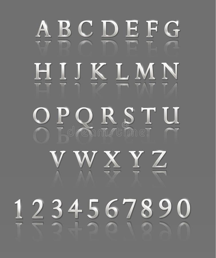 Письма и номера Серебряный алфавит иллюстрация штока