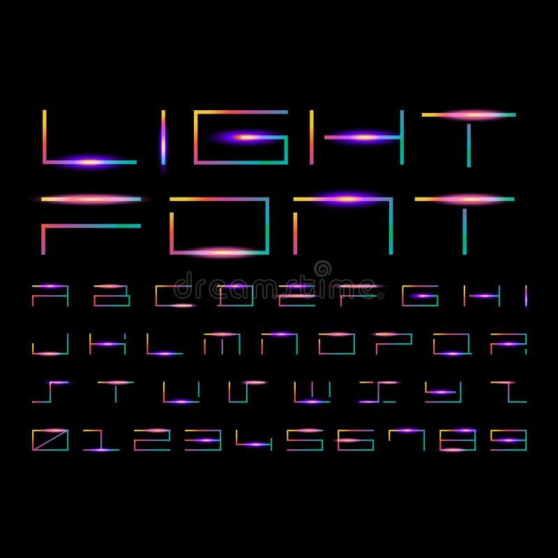 Письма и номера с световым эффектом иллюстрация вектора