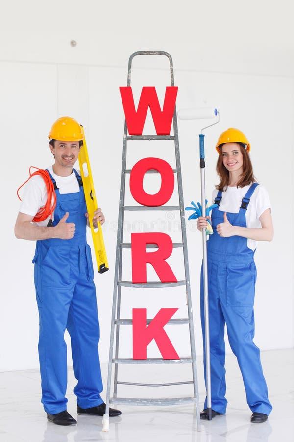 Письма и работники работы стоковое изображение