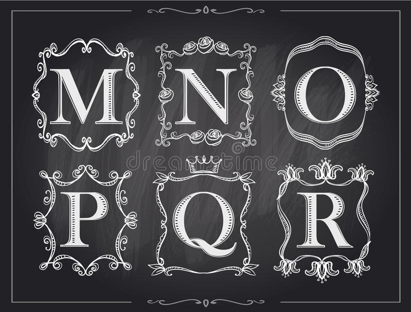 Письма мела классн классного винтажные каллиграфические в рамках вензеля ретро, логотипах алфавита иллюстрация штока