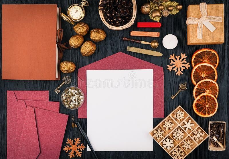 Письма рождества, взгляд сверху стоковое изображение