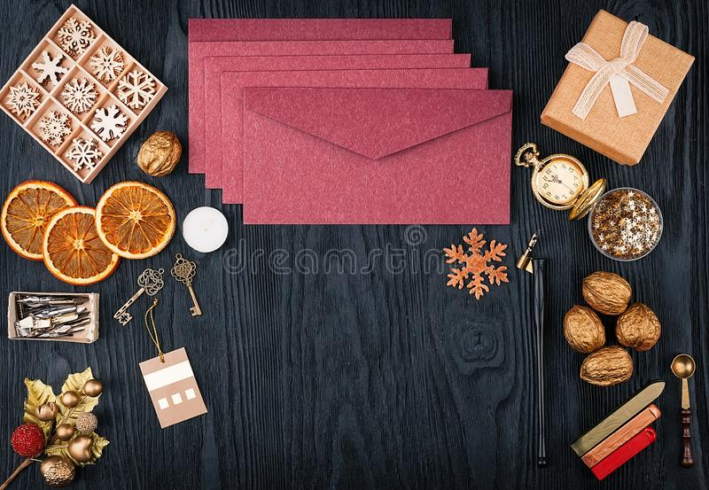 Письма рождества, взгляд сверху стоковые изображения rf