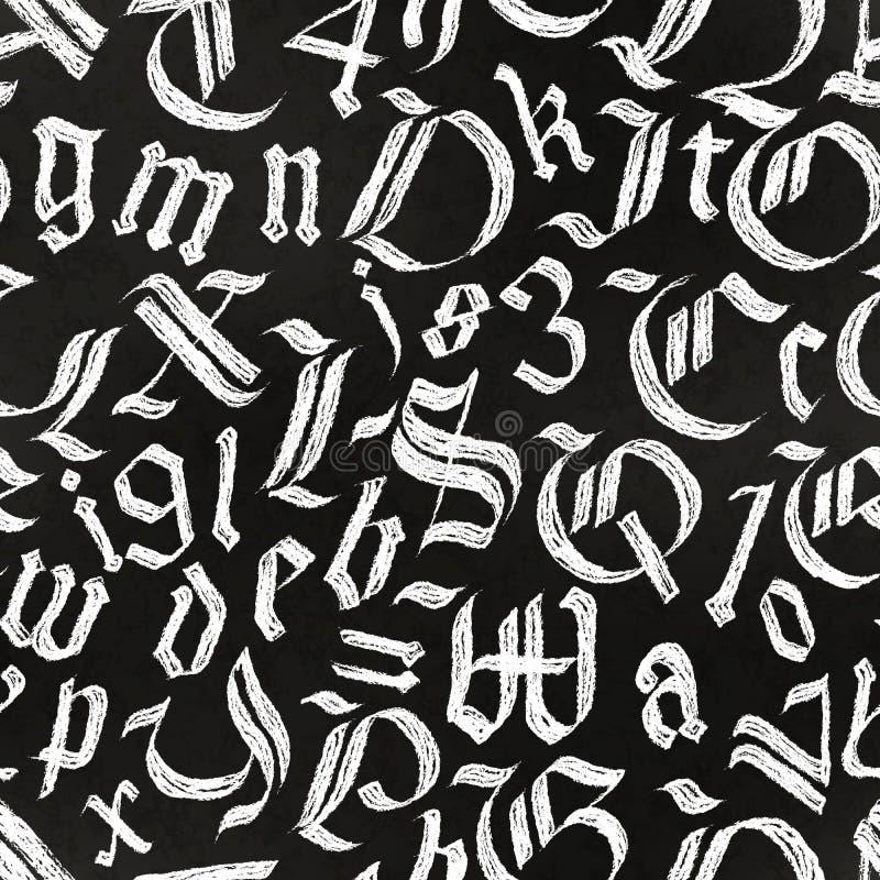 Письма руки вычерченные готические рисуя с белым мелом на черной доске, картине каллиграфии безшовной бесплатная иллюстрация