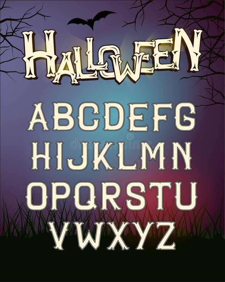 Письма шрифта вектора хеллоуина, плакат с темным лесом ночи бесплатная иллюстрация