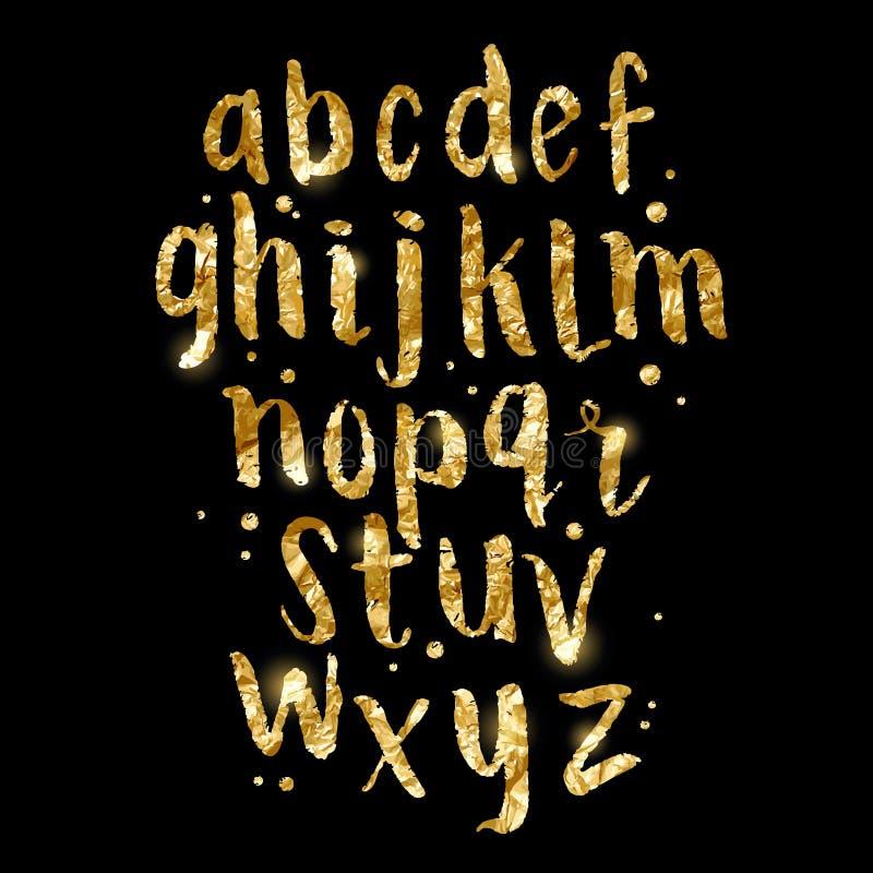 Письма щетки яркого блеска сусального золота иллюстрация штока