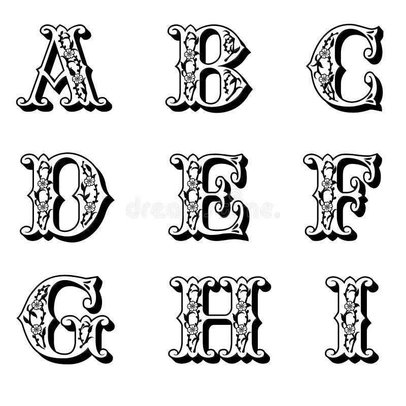 письма 1 прописные цветка иллюстрация вектора