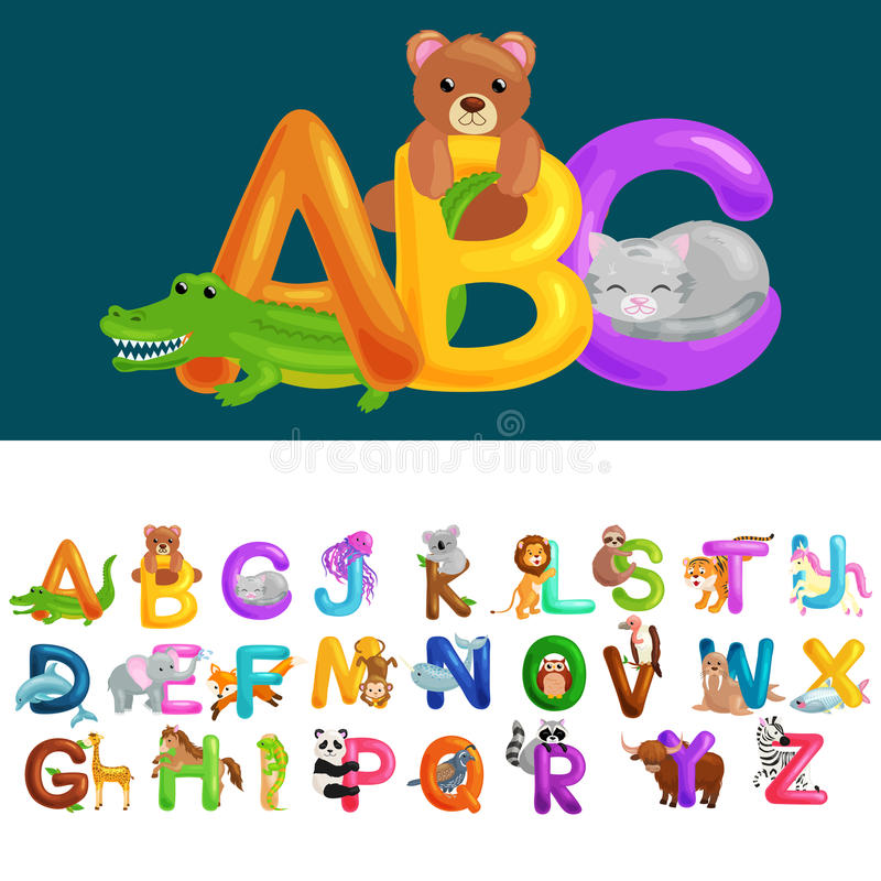 Письма Abc животные для образования алфавита детей школы или детского сада бесплатная иллюстрация