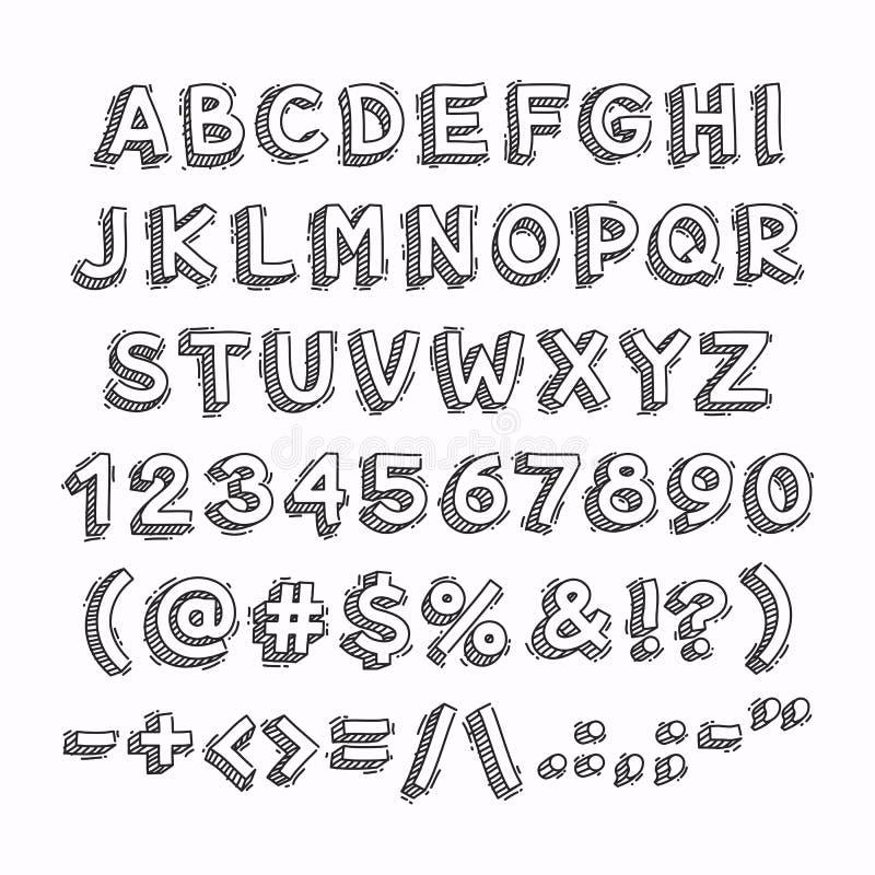 Письма 3D и номера нарисованные рукой иллюстрация штока