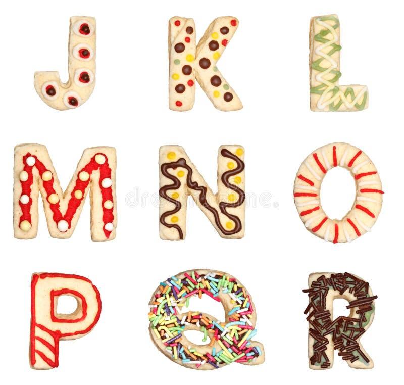 Письма j к r от украшенных печений иллюстрация вектора