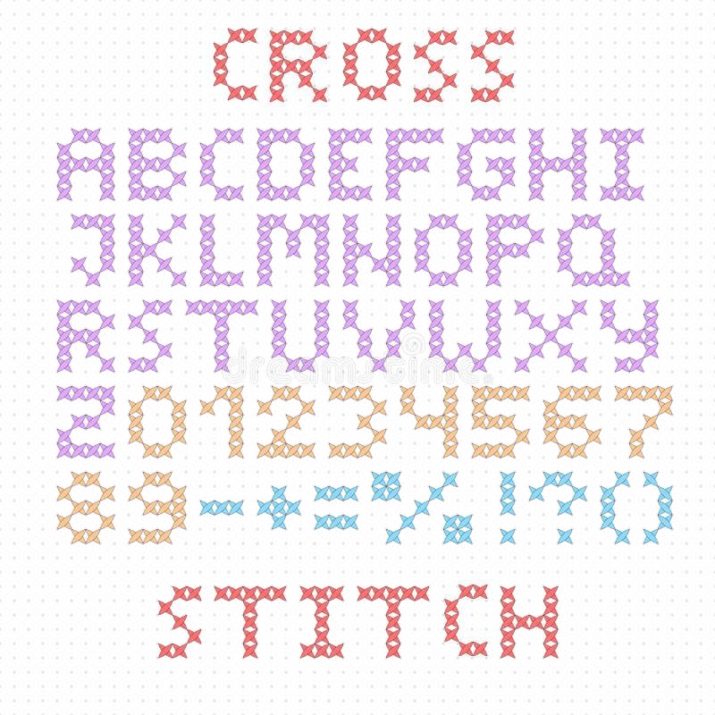 письма s fanny детей алфавита латинские Большие английские письма Вышивка крестиком иллюстрация вектора