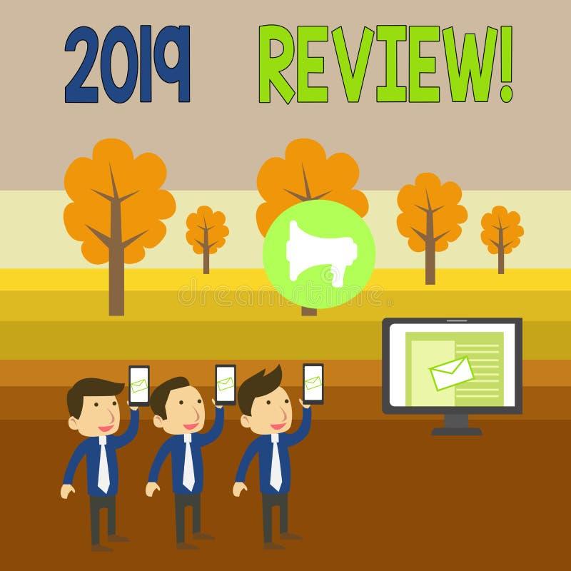 Письменная записка с обзором 2019 года Бизнес-фотосюжеты памяти события прошлого года основные действия или хорошие шоу SMS Email иллюстрация вектора