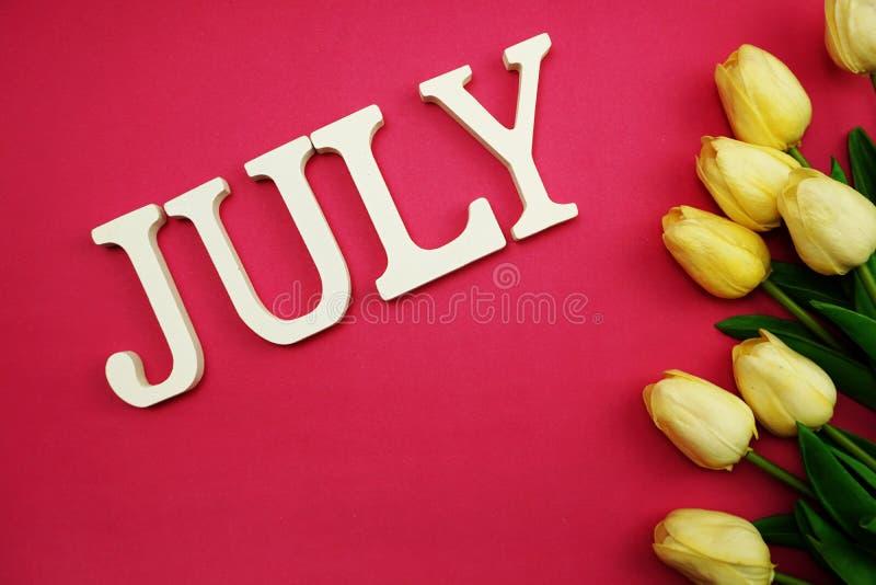 Письмо алфавита в июле и цветок тюльпана с космосом на розовой предпосылке стоковое изображение rf