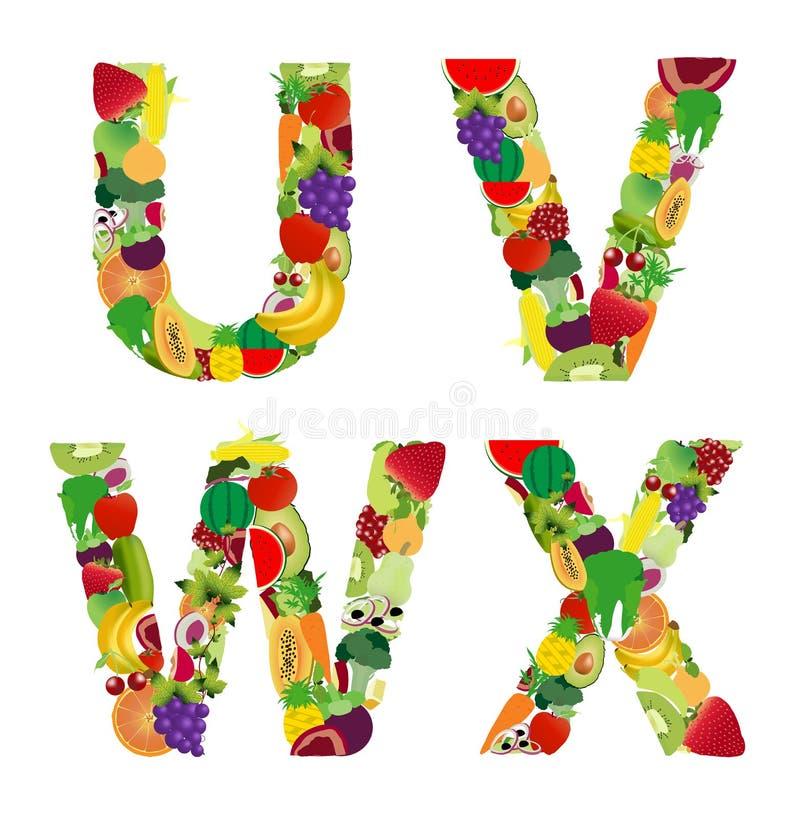 Письмо алфавита фрукта и овоща иллюстрации вектора иллюстрация штока