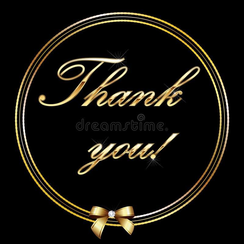 письмо золота карточки благодарит вас иллюстрация штока