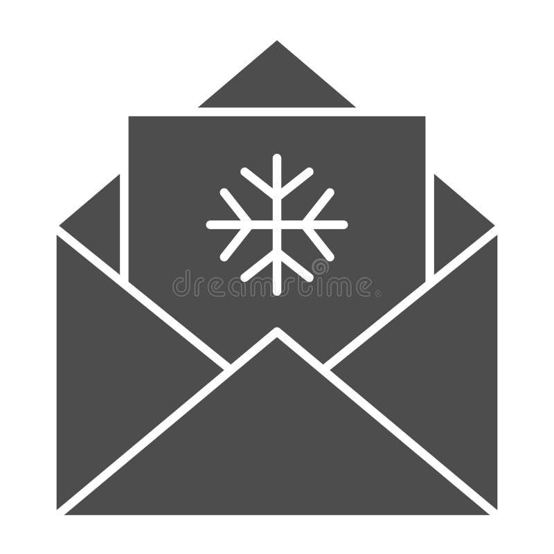 Письмо к значку Санта Клауса твердому Иллюстрация вектора конверта Cristmas изолированная на белизне Хороший стиль глифа желаний бесплатная иллюстрация