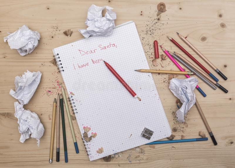 Письмо к Санта, карта желания написанная ребенк вектор бумаги письма иллюстрации падуба праздника ели габарита рождества стоковые фотографии rf