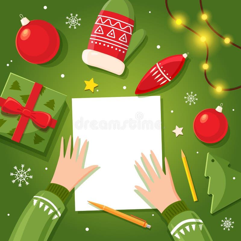Письмо к Санта Клаусу пишет ребенк на рождестве Космос для текста также вектор иллюстрации притяжки corel иллюстрация вектора