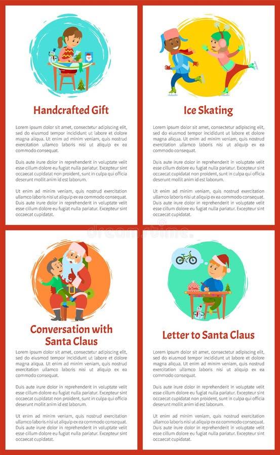 Письмо к Санта Клаусу, плакату настоящих моментов ремесленничества иллюстрация вектора