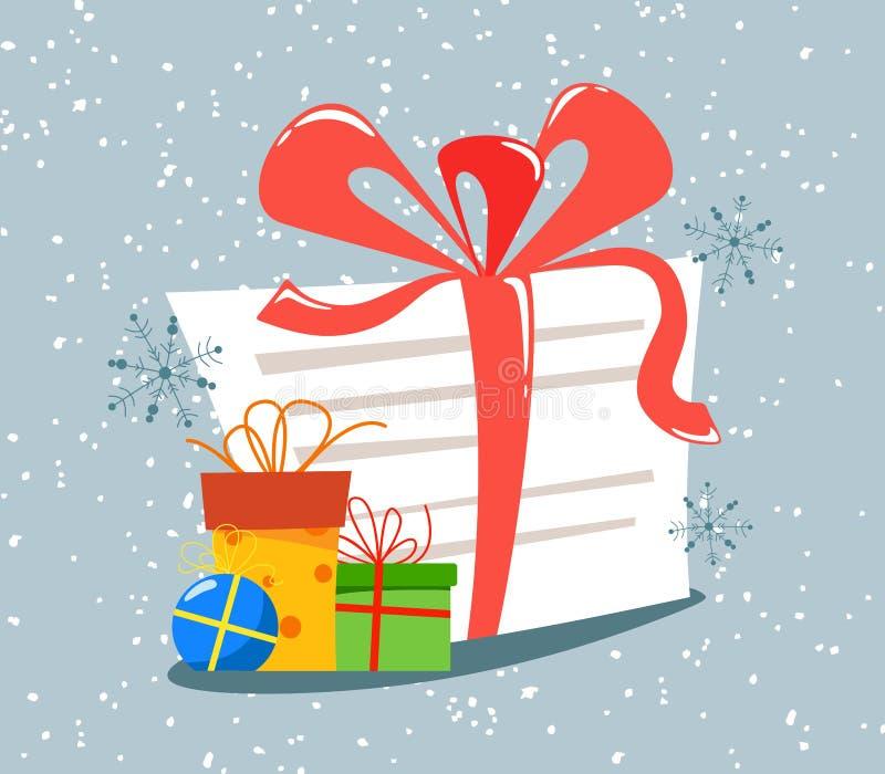 Письмо к Санта Клаусу с лентой об иллюстрации стиля мультфильма запроса подарка плоской иллюстрация вектора