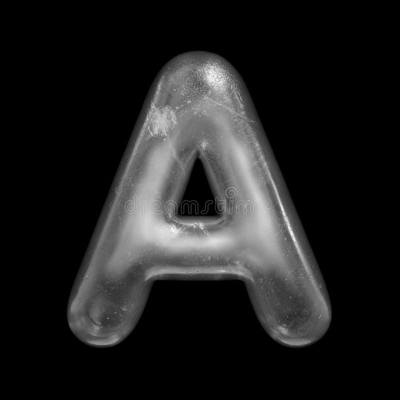 Письмо a льда - прописной шрифт зимы 3d - соответствующее для вопросов природы, зимы или рождества родственных иллюстрация штока