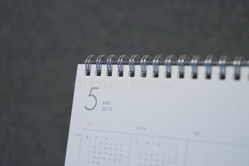 Письмо май на календаре 2019 стоковое фото rf