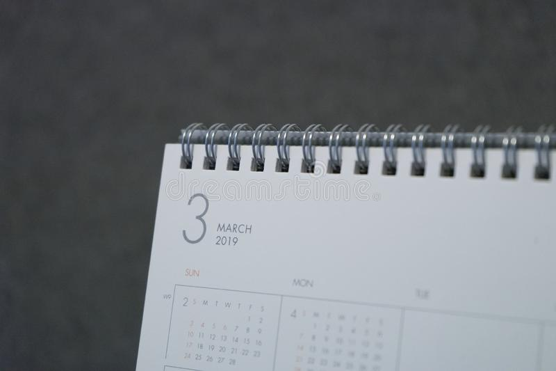 Письмо март на календаре 2019 стоковое фото rf