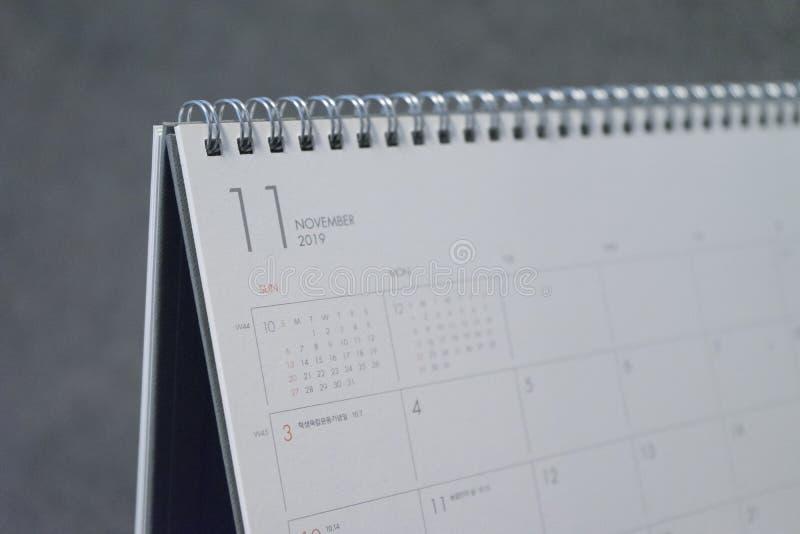Письмо ноябрь на календаре 2019 стоковое изображение