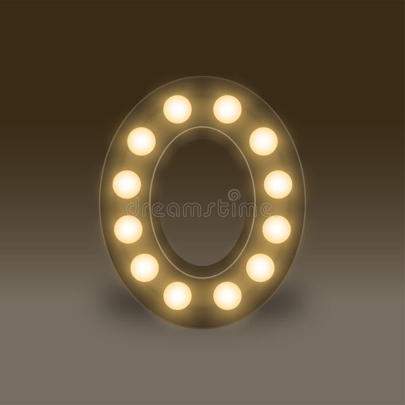 Письмо нул или 0, в наборе коробки электрической лампочки алфавита раскаленном добела, стиль 3D иллюстрации ретро изолировало зар иллюстрация вектора