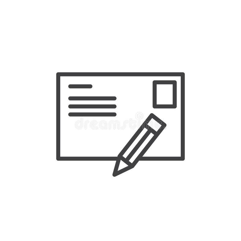 Письмо открытки и линия значок ручки иллюстрация штока