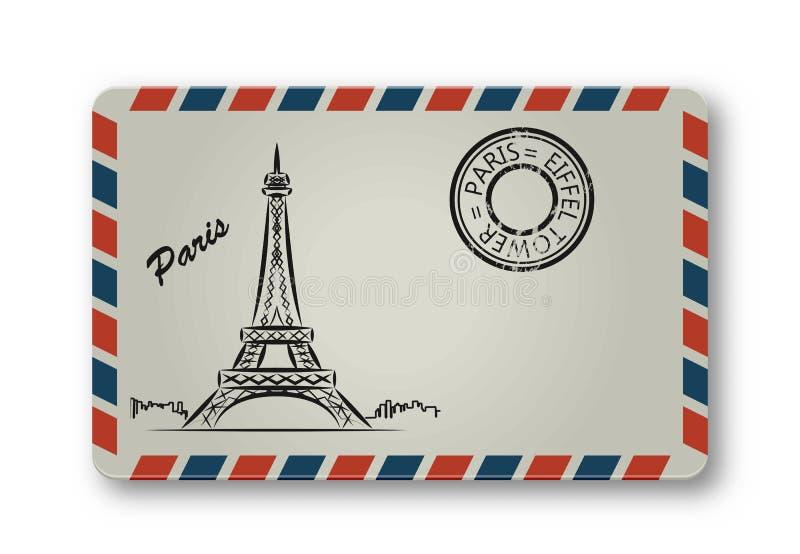 Письмо от Парижа при покрашенная Эйфелева башня stylization бесплатная иллюстрация
