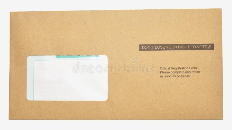 Письмо регистрации избирателя стоковая фотография rf
