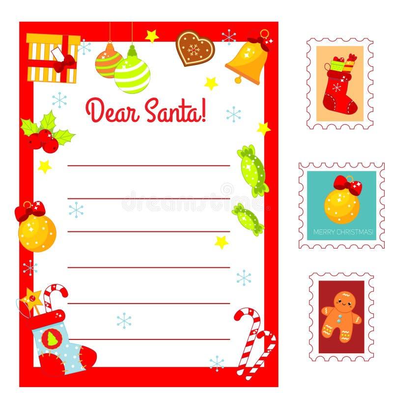 Письмо рождества к Санта Клаусу Украшенный пробел письма и почтовые печати Набор праздников Нового Года для детей, детей, сезонны иллюстрация штока