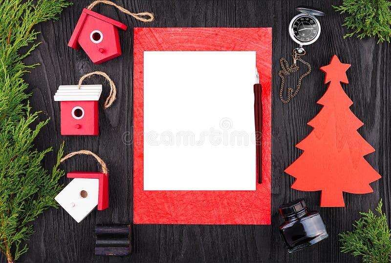 Письмо рождества, открытка над взглядом стоковые изображения rf