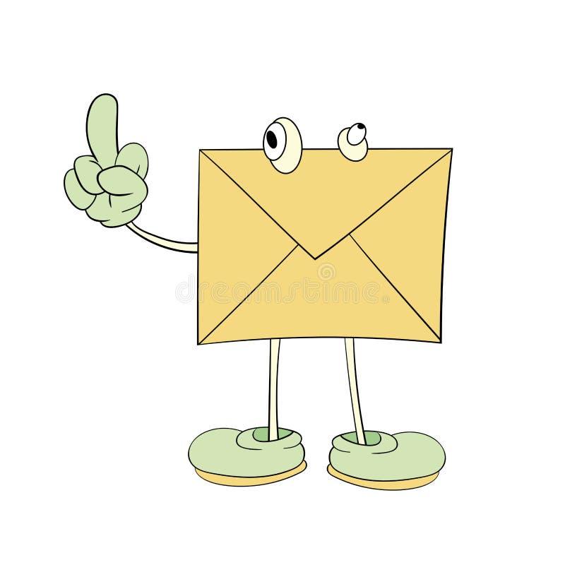 Письмо с глазами смотрит его палец, чертеж мультфильма, значок, карикатуру бесплатная иллюстрация