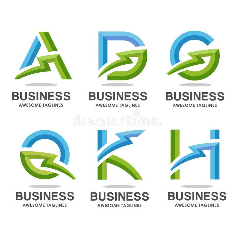 Письмо с элементами шаблона установленного дизайна логотипа молнии иллюстрация вектора