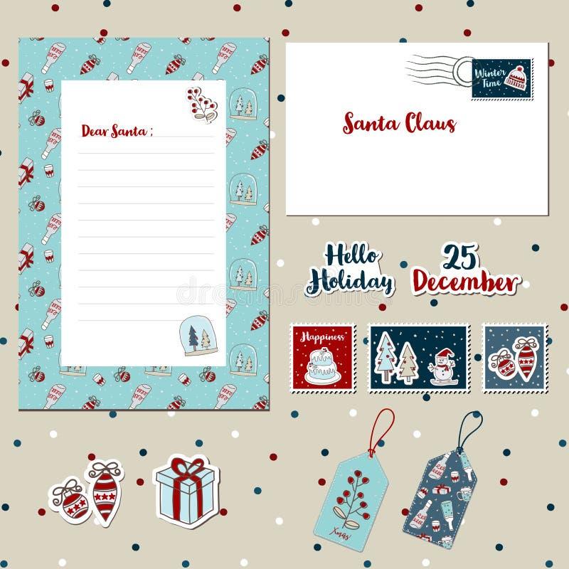 Письмо 2017-A, шаблоны scrapbook конверта, штемпеля, стикеры шаблона рождества установленное, иллюстрация вектора