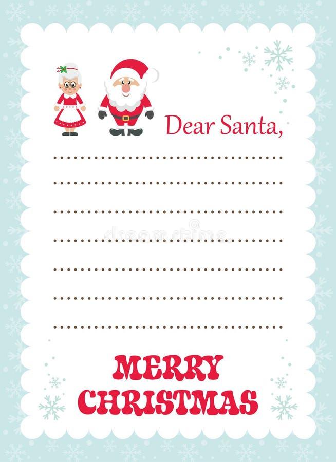 Письмо шаржа к Госпоже santa и Санта Клаусу пингвина santa бесплатная иллюстрация