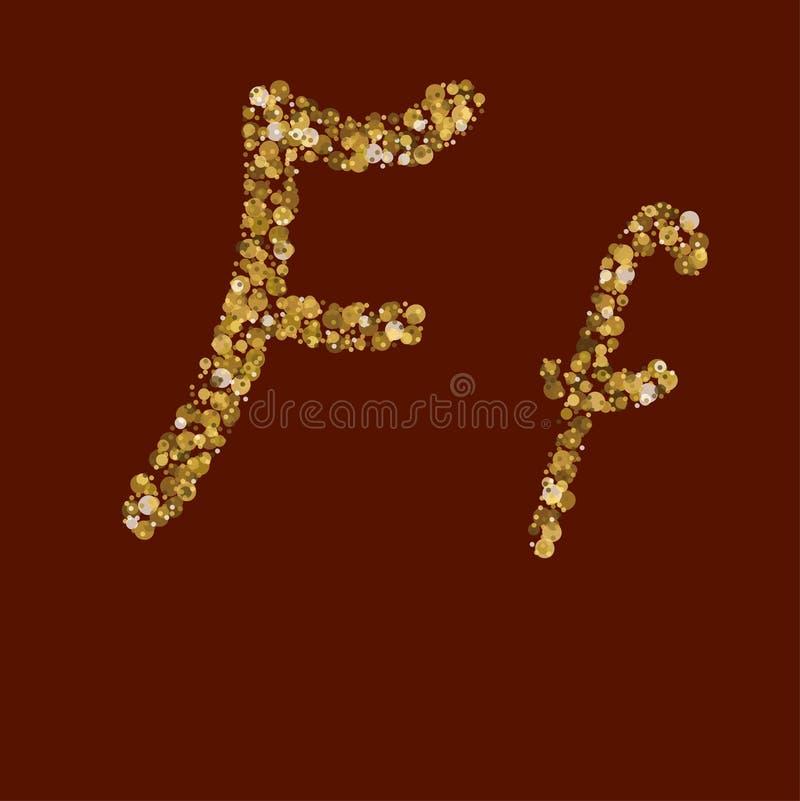Письмо яркого блеска Ff золотое иллюстрация штока