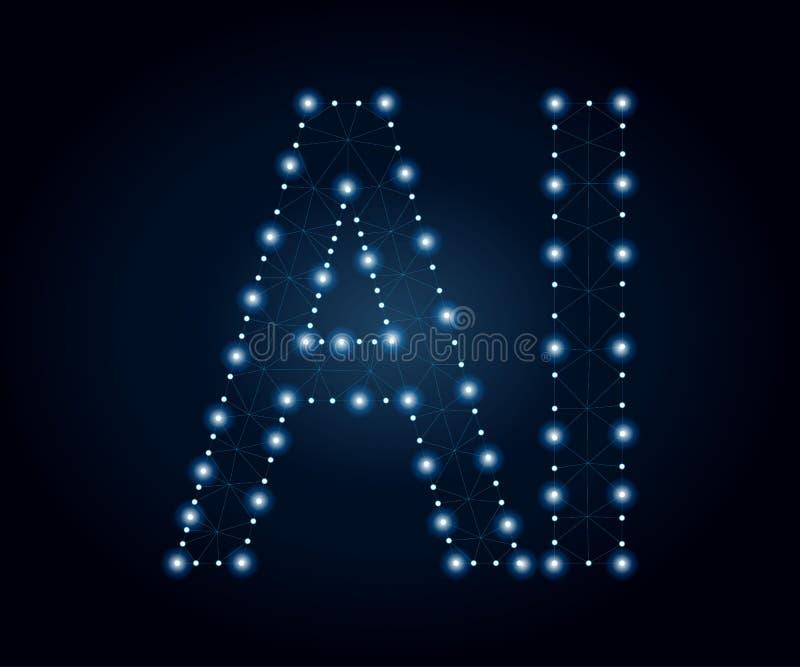 Письмо AI, полигон, синь 1 иллюстрация штока