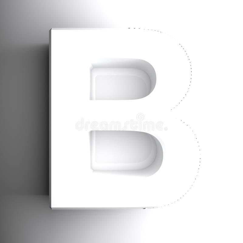 Письмо b алфавитное белое, изолированный на белой предпосылке - иллюстрации перевода 3D иллюстрация вектора