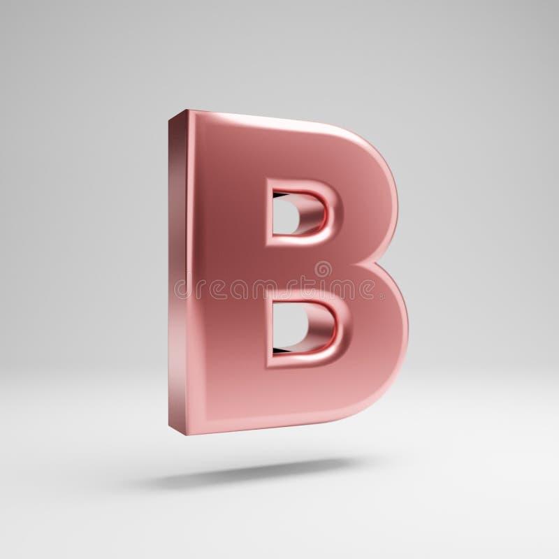 Письмо b объемного лоснистого розового золота uppercase изолированное на белой предпосылке иллюстрация штока