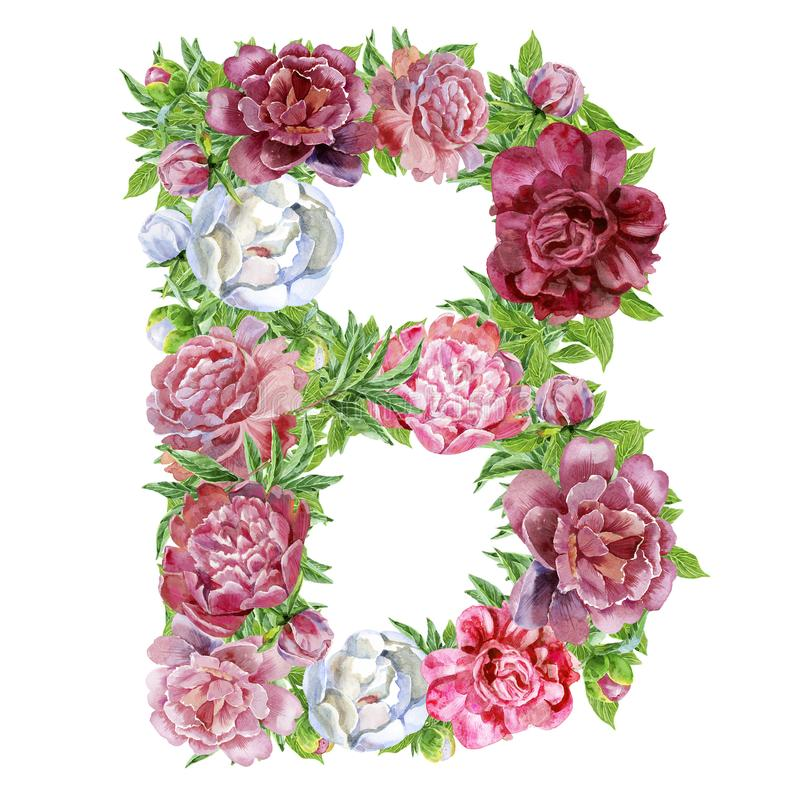 Письмо b цветков акварели иллюстрация вектора