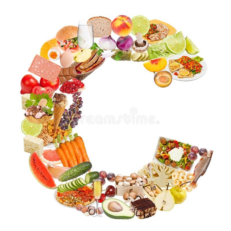 Письмо c сделанное из еды стоковые изображения rf