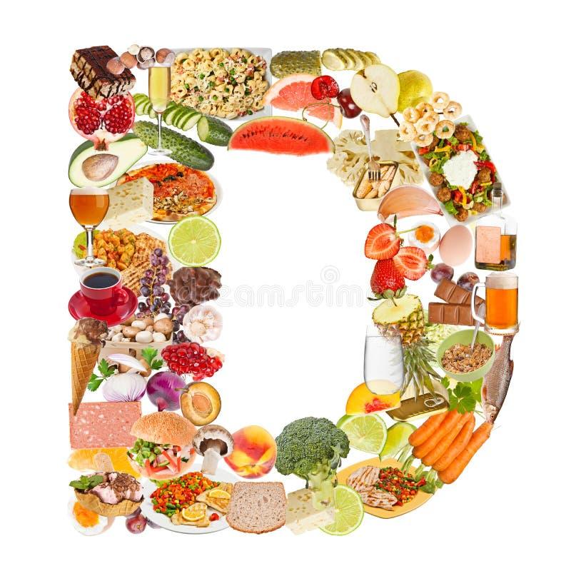 Письмо d сделанное из еды стоковое изображение